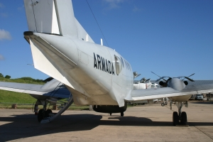 A lower fairing for accommodating photographic equipment for reconnaissance can be seen right of the deployed air stairs