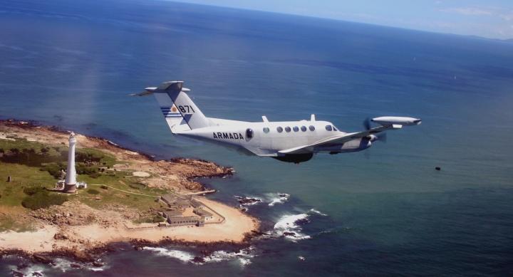 Armada 871 banks low over Isla de Lobos ligthouse in the South Atlantic.