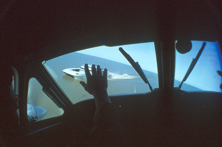C/C Hugo Martini flies and waves at the ferry boat passengers!