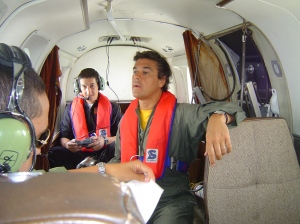 Cpl. Albin Correa readies his GPS equipped Canon camera, whilst the author (centre) tries to see