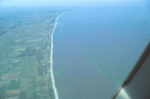 Green algaee surfacing over the coast of western Uruguay, close to Colonia.