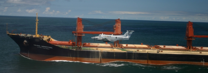 Overflying a Russian cargo ship inbound to the Atlantic