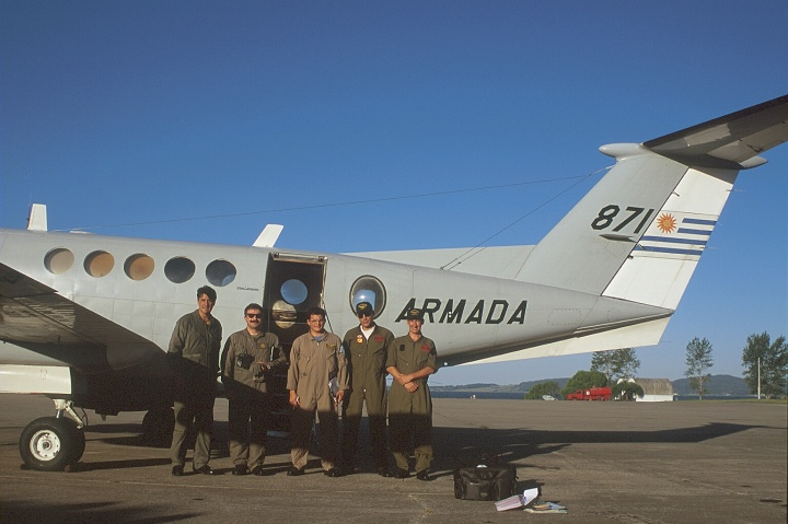The author (first left) with the crew of Armada 871, after a pollution control mission.
