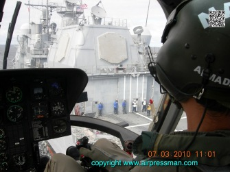 """Approaching a US Navy ship during exercise """"Southern Partnership"""". (Photo ANU)"""