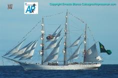 """Saludando al Buque Escuela """"Cisne Branco"""" de la Marina de Brasil, Punta del Este. Velas 2010./Flying port of the """"Cisne Branco"""" (White Swan) tall ship of the Brazilian Navy during Velas 2010."""